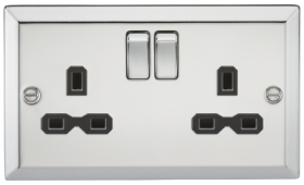13A 2G DP Switched Socket Polished Chrome Bevelled Edge