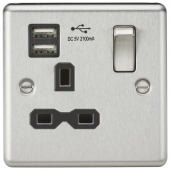 13A 1G Switched Socket Dual USB Charger Slots with Black Insert - Rounded Edge Brushed Chrome