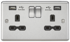 13A 2G Switched Socket Dual USB Charger Slots with Black Insert - Rounded Edge Brushed Chrome