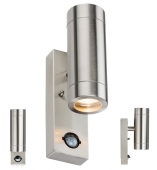 Stainless Steel Up and Down Light With PIR Sensor 2xGU10 35W WALL4LSS