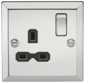 13A 1G DP Switched Socket Polished Chrome Bevelled Edge